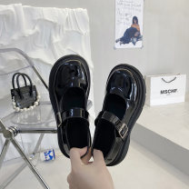 Low top shoes 35 36 37 38 39 Miyada Black light black matte upgrade black light upgrade black matte Round head PU Thick heel Middle heel (3-5cm) Deep mouth cloth Spring 2021 Flat buckle Korean version Adhesive shoes Youth (18-40 years old) Solid color rubber Single shoes Shallow belt buckle PU
