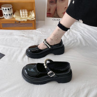 Low top shoes 35 36 37 38 39 Miyada Black Beige upgrade black upgrade Beige Round head PU Flat bottom Middle heel (3-5cm) Shallow mouth cloth Summer 2021 Flat buckle Korean version Adhesive shoes Youth (18-40 years old) Solid color rubber Mary Jane shoes Shallow Beaded thick heel PU leisure time
