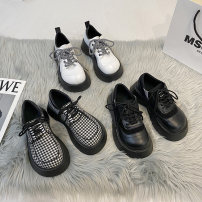 Low top shoes 35 36 37 38 39 Miyada Check black white Round head PU Flat bottom High heel (5-8cm) Deep mouth cloth Spring 2021 Frenulum Korean version Adhesive shoes Youth (18-40 years old) lattice rubber Single shoes Cross strap grid PU leisure time 2021-3-31-1 Soft skin