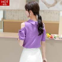 Lace / Chiffon Summer 2020 Purple, green, black [skirt] S,M,L,XL,2XL Short sleeve commute Socket singleton  easy Regular Doll Collar Solid color routine 25-29 years old O976 Bowknot, pleating, patching, stitching, three-dimensional decoration, buttons Korean version 81% (inclusive) - 90% (inclusive)