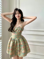 Dress Summer 2021 Mixed color of oil painting S M Short skirt singleton  Sleeveless commute One word collar High waist Decor Socket A-line skirt routine camisole 18-24 years old Type A Qingqing leisurely Korean version printing Green 337 More than 95% other Other 100% Pure e-commerce (online only)