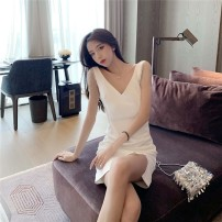 Dress Summer 2020 S M L Short skirt singleton  Sleeveless commute V-neck High waist Solid color Socket A-line skirt other camisole 18-24 years old Type A Qingqing leisurely Korean version More than 95% other other New polyester fiber 100.00% Pure e-commerce (online only)