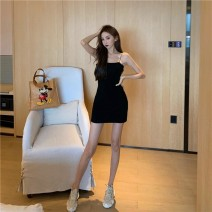Dress Spring 2021 Blue Black Pink Average size Short skirt singleton  Sleeveless commute square neck High waist Solid color A-line skirt other camisole 18-24 years old Qingqing leisurely Korean version More than 95% other Other 100.00% Pure e-commerce (online only)