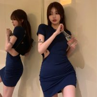 Dress Summer 2021 blue Average size Short skirt singleton  Short sleeve commute Crew neck High waist Solid color Socket One pace skirt routine Others 18-24 years old Type A Qingqing leisurely Korean version More than 95% other other New polyester fiber 100% Pure e-commerce (online only)