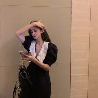 Dress Summer 2021 black S M Middle-skirt singleton  Short sleeve commute other High waist Solid color Socket A-line skirt puff sleeve Others 18-24 years old Type A Qingqing leisurely Korean version 99984# More than 95% other other New polyester fiber 100% Pure e-commerce (online only)
