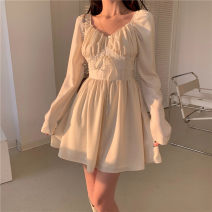 Dress Summer 2021 Picture color S M L Short skirt singleton  Long sleeves commute V-neck High waist Solid color Socket A-line skirt routine Others 18-24 years old Type A Qingqing leisurely Korean version fold More than 95% other polyester fiber Polyester 100% Pure e-commerce (online only)