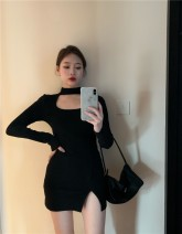 Dress Spring 2021 White black Average size Short skirt singleton  Long sleeves commute Half high collar High waist Solid color Socket A-line skirt routine Others 18-24 years old Type A Qingqing leisurely Korean version Hollowing out bSKOur More than 95% other other New polyester fiber 100.00%