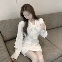 Dress Spring 2021 white S M Short skirt singleton  Long sleeves commute V-neck High waist Solid color Socket A-line skirt routine Others 18-24 years old Type A Qingqing leisurely Korean version Bow fold More than 95% other other New polyester fiber 100.00% Pure e-commerce (online only)