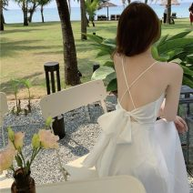 Dress Summer 2021 white S M L longuette singleton  Sleeveless commute V-neck High waist Solid color zipper A-line skirt other camisole 18-24 years old Type A Qingqing leisurely Korean version 2237# More than 95% other other New polyester fiber 100% Pure e-commerce (online only)