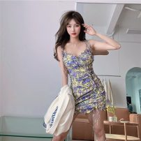 Dress Summer 2021 Floral suspender skirt S M Short skirt singleton  Sleeveless commute One word collar High waist Decor Socket A-line skirt other camisole 18-24 years old Type A Qingqing leisurely Korean version More than 95% other other New polyester fiber 100% Pure e-commerce (online only)