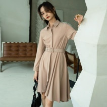 Dress Spring 2021 Apricot black S M L longuette singleton  Long sleeves commute Polo collar High waist Solid color Single breasted A-line skirt routine Others 25-29 years old Type A Autumn Narcissus Ol style Button 0051065-1 More than 95% polyester fiber Exclusive payment of tmall