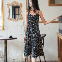 Dress Summer 2021 White sling black sling S M L Mid length dress singleton  Sleeveless commute V-neck High waist Broken flowers Socket A-line skirt routine camisole 25-29 years old Type A Autumn Narcissus Simplicity printing W0021002 More than 95% other polyester fiber Polyester 100%