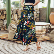 skirt Summer of 2019 S M L black longuette Retro High waist Irregular Decor Type A 25-29 years old More than 95% Chiffon Autumn Narcissus polyester fiber Polyester 100% Pure e-commerce (online only)