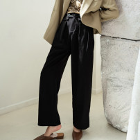 Casual pants Taupe black S M L XL Spring 2021 trousers Wide leg pants High waist commute routine 25-29 years old 0032021-2 Autumn Narcissus polyester fiber Simplicity pocket polyester fiber Polyester 100% Exclusive payment of tmall Asymmetry