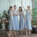 Dress / evening wear Wedding, adulthood, party, company annual meeting, performance, routine, appointment S. M, l, average size Sky blue, ice blue, lake blue, mustard blue Korean version Medium length middle-waisted Winter of 2019 One shoulder zipper Netting 18-25 years old Moye wedding dress