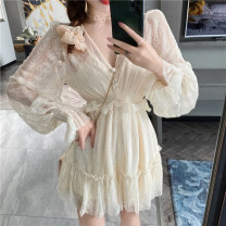 Dress Spring 2020 Apricot S M L Short skirt Fake two pieces Long sleeves commute V-neck High waist Solid color Socket Ruffle Skirt bishop sleeve Others 18-24 years old Type A Timothy Korean version Auricularia auricula stitching button mesh resin fixation lace More than 95% Lace other Other 100%