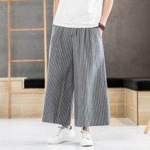 Casual pants Chinka Youth fashion Grey white black M L XL 2XL 3XL 4XL 5XL thin trousers Other leisure easy Micro bomb summer Chinese style 2019 middle-waisted Cotton 65% other 35% Summer 2020 Pure e-commerce (online only)