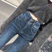 Jeans Autumn 2020 Blue and black suede Pant XS S M L XL Ninth pants High waist Pencil pants Wash zipper button multiple pockets Cotton elastic denim
