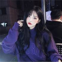 Sweater / sweater Winter of 2019 Purple red black M L XL XXL Long sleeves routine Socket singleton  Plush Half high collar easy commute routine letter 18-24 years old Spinning cool Retro 033-2 Embroidery Pure e-commerce (online only)