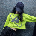 Sweater / sweater Autumn 2020 Fluorescent green [Terry Cotton] white [Terry Cotton] black [Terry Cotton] M L XL XXL Long sleeves have cash less than that is registered in the accounts Socket singleton  routine Crew neck easy street Bat sleeve letter 18-24 years old 96% and above Spinning cool cotton