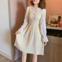 Dress Spring 2021 Apricot, black, pink Average size Middle-skirt singleton  Long sleeves commute V-neck other Socket A-line skirt pagoda sleeve Type A Other / other lady Splicing 31% (inclusive) - 50% (inclusive) knitting other