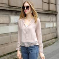 short coat Summer of 2018 2XLLXL Pink meat powder, Navy, white and black. Long sleeve Short paragraph Thin section Single Loose conventional Hooded Single-breasted Pure color Bianbi Belle 25-29 years old FSF103 silk Silk 100% Pure electricity supplier (only online sales)