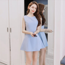Dress Summer 2020 Sky blue, white, pink, black Xs, s, m, l, XL, meddada skirt -- the first one Short skirt singleton  Sleeveless commute Crew neck middle-waisted Solid color zipper A-line skirt camisole Type A Simplicity zipper 51% (inclusive) - 70% (inclusive) polyester fiber
