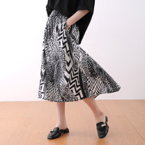 skirt Summer 2021 M,L,XL As shown in the figure longuette commute High waist A-line skirt Decor Type A 25-29 years old More than 95% other cotton literature