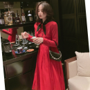 Dress Spring 2021 gules L,S,M Mid length dress Long sleeves commute Scarf Collar High waist Solid color Socket A-line skirt Type A 6301KO