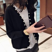 Wool knitwear Autumn 2020 S,M,L,XL,2XL Black, red Long sleeves singleton  Cardigan cotton More than 95% Regular routine commute easy V-neck routine Solid color Korean version YJ01877 Set bead