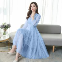 Dress Spring 2020 Light blue off white light blue short sleeve off white short sleeve pink short sleeve S M L XL 2XL Mid length dress singleton  Long sleeves commute V-neck High waist Solid color Socket Big swing routine Others 25-29 years old Type A Xincaixing Korean version Splicing mesh