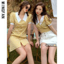 Dress Summer 2021 30129 Top Yellow 30130 dress yellow S M Middle-skirt singleton  Short sleeve commute Polo collar High waist lattice Socket A-line skirt puff sleeve Others 18-24 years old Type A Famous model Korean version MF30129 More than 95% other other Other 100% Pure e-commerce (online only)