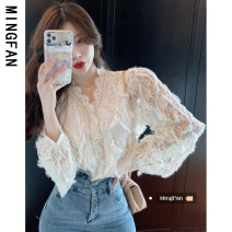 Lace / Chiffon Winter 2020 White apricot S M L Long sleeves commute Cardigan singleton  easy Regular V-neck Solid color bishop sleeve 18-24 years old Famous model (clothing) MFA5608 Korean version 96% and above Other 100% Pure e-commerce (online only)