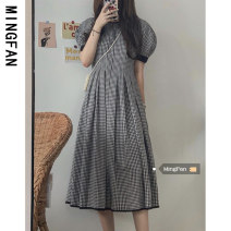 Dress Summer 2021 lattice S M L Mid length dress singleton  Short sleeve commute Crew neck High waist lattice Socket A-line skirt puff sleeve Others 18-24 years old Type A Famous model Korean version MF245 More than 95% other Other 100% Pure e-commerce (online only)