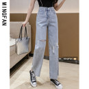 Jeans Summer 2021 wathet S M L XL 2XL trousers High waist Wide legged trousers Thin money 18-24 years old Worn out, water washed, Multi Pocket light colour MF9992 Famous model (clothing) 96% and above Other 100% Pure e-commerce (online only)