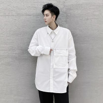 shirt Youth fashion Others M,L,XL,2XL white routine square neck Long sleeves easy Other leisure Four seasons youth Cotton 100% tide