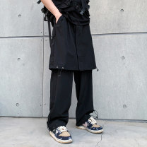 Casual pants Others Youth fashion black M,L,XL,2XL routine trousers Other leisure easy No bullet Four seasons youth tide 2021 middle-waisted Straight cylinder Polyethylene terephthalate (polyester) 100% Overalls washing Solid color plain cloth polyester fiber Fashion brand
