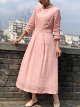 Dress Summer 2021 Pink M, L longuette singleton  Long sleeves commute stand collar middle-waisted Solid color Socket A-line skirt routine Others 25-29 years old Type A Mianma shop literature Button 91% (inclusive) - 95% (inclusive) other cotton