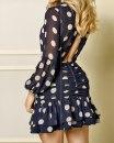 Dress Summer 2020 blue S,M,L,XL Short skirt singleton  Long sleeves street High waist Dot bishop sleeve 25-29 years old polyester fiber Europe and America
