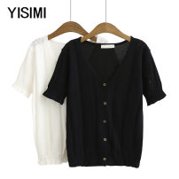Middle aged and old women's wear Summer 2020 White black XL 2XL 3XL 4XL commute shirt easy singleton  Solid color Cardigan thin V-neck routine routine Y192778 Isimi other Other 100% 96% and above Pure e-commerce (online only) Single breasted Short sleeve Simplicity