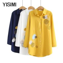 Middle aged and old women's wear Spring 2020 Navy Yellow White XL 2XL 3XL 4XL shirt easy singleton  Cardigan moderate Polo collar routine Y1923231 Isimi other Other 100% 96% and above Pure e-commerce (online only) Single breasted Long sleeves