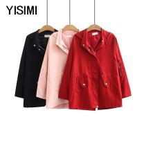 Windbreaker Spring of 2019 2XL 3XL 4XL 5XL Pink Black Red Long sleeves routine Medium length commute Hood Isimi Y19047 96% and above other Other 100% Pure e-commerce (online only)