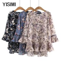Middle aged and old women's wear Summer 2020 Beige blue black 2XL 3XL 4XL 5XL T-shirt easy singleton  Flower and bird pattern Socket thin Crew neck routine Y192320 Isimi other Other 100% 96% and above Pure e-commerce (online only) 3 / 5 sleeve
