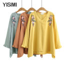 Middle aged and old women's wear Spring 2020 T-shirt easy singleton  Flower and bird pattern Condom moderate V-neck Y192208 Isimi other Other 100% 96% and above Pure e-commerce (online sales only) Long sleeve routine Yellow green Caramel yellow short sleeve Caramel light coffee short sleeve