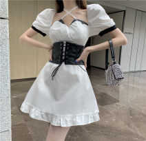 Dress Summer 2021 White dress, black waist cover S. M, l, average size Short skirt Two piece set Short sleeve commute square neck High waist Solid color Socket Ruffle Skirt puff sleeve Others 18-24 years old Type A Other / other Korean version 51% (inclusive) - 70% (inclusive) other other