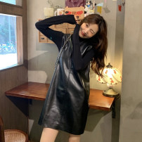Dress Spring 2020 Coffee leather skirt, black leather skirt, black T-shirt, coffee T-shirt Average size Mid length dress Two piece set Long sleeves commute V-neck Loose waist Solid color Socket A-line skirt routine straps 18-24 years old Type A Korean version