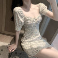 Dress Summer 2020 White flowers S, M Short skirt singleton  Short sleeve commute square neck middle-waisted Decor zipper Others 18-24 years old Type A Korean version