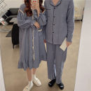 Pajamas / housewear set lovers Other / other Average size Dress coffee, dress Navy, dress grey, men's coffee, men's grey, men's Navy cotton Long sleeves Sweet Living clothes autumn routine Small lapel Dot trousers double-breasted youth 2 pieces rubber string longuette