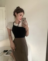 skirt Summer 2021 S. M, l, average size Black sling , Khaki Skirt longuette commute High waist A-line skirt other 18-24 years old 31% (inclusive) - 50% (inclusive) Other / other other Korean version