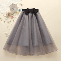 skirt Summer 2020 Average size Black, grey, pink Middle-skirt fresh A-line skirt other 18-24 years old Chiffon Powder according to the tide other bow